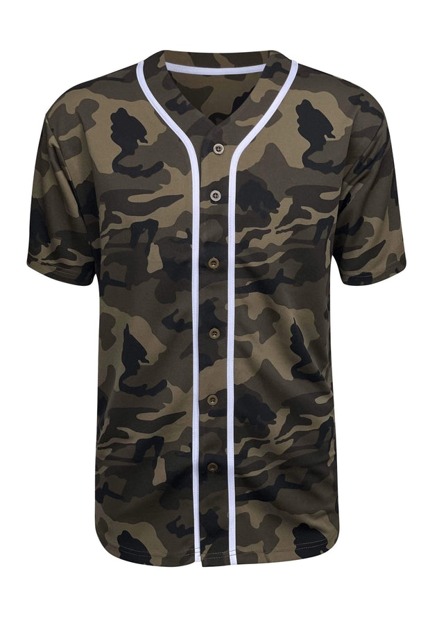 ILTEX Apparel Adult Clothing Baseball Button Down Jersey Olive Camo
