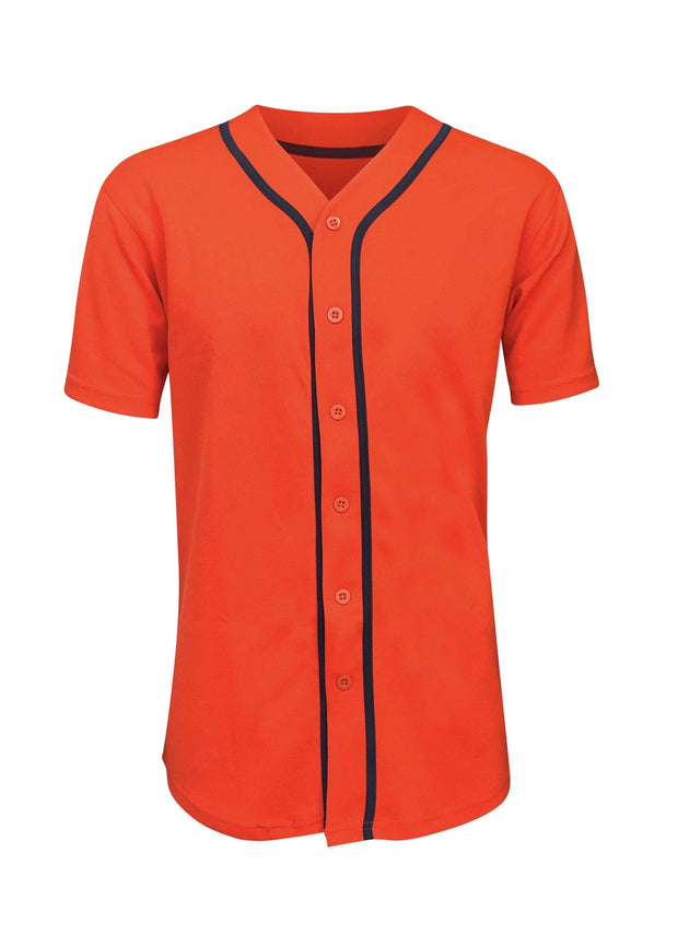 ILTEX Apparel Adult Clothing Baseball Button Down Jersey Orange Navy