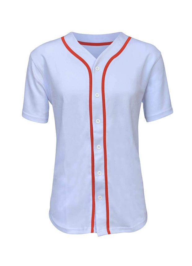 ILTEX Apparel Adult Clothing Baseball Button Down Jersey White Orange