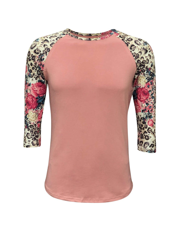 ILTEX Apparel Adult Clothing Cheetah Floral Coral Top