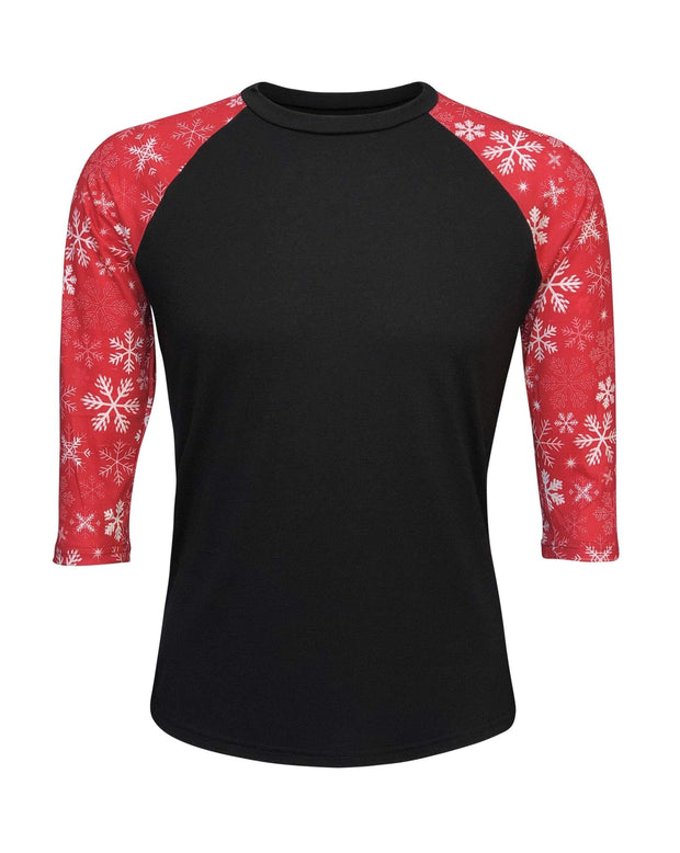 ILTEX Apparel Adult Clothing Christmas Black Snowflakes Top