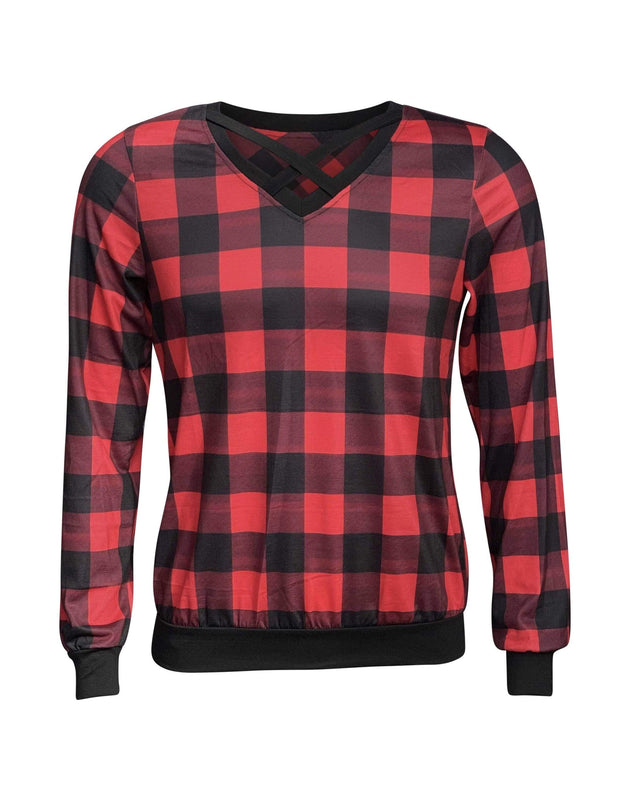 ILTEX Apparel Adult Clothing Crisscross V-Neck Red Plaid Top