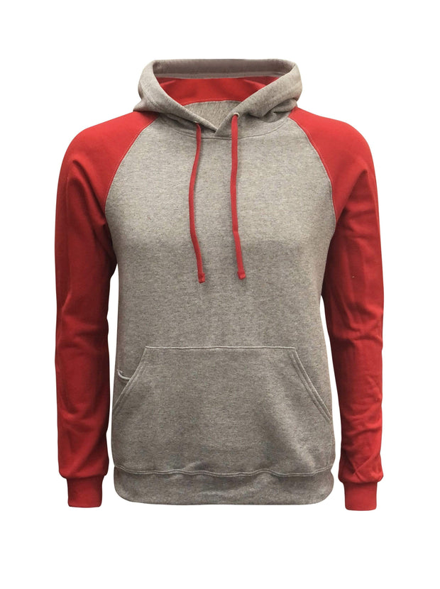 ILTEX Apparel Adult Clothing Small / Gray/Red Pullover Raglan Hoodie