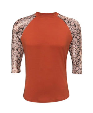 ILTEX Apparel Adult Clothing Snake Print Orange Polyester Top