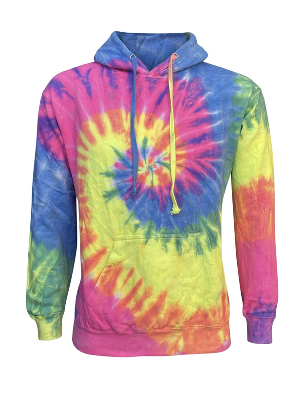 ILTEX Apparel Adult Clothing Tie Dye Neon Rainbow Heavyweight Hoodie