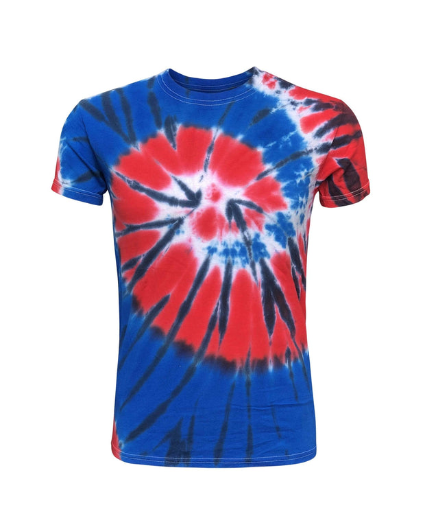 ILTEX Apparel Adult Clothing Tie Dye Patriotic Red Blue White T-Shirt Adult