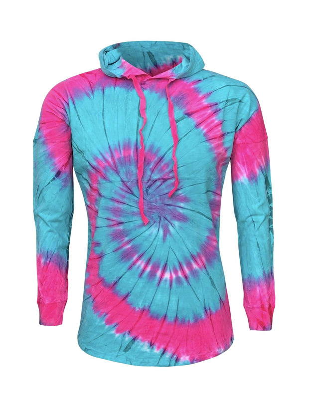 ILTEX Apparel Adult Clothing Tie Dye Seafoam Fuschia Hoodie Adult