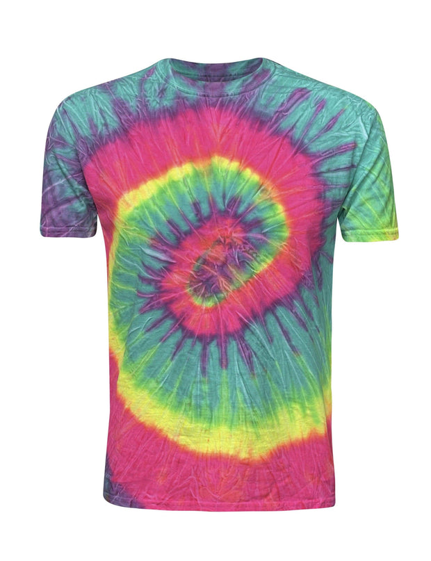 ILTEX Apparel Adult Clothing Tie Dye Swirl Rainbow Mint Short Sleeve T-Shirt