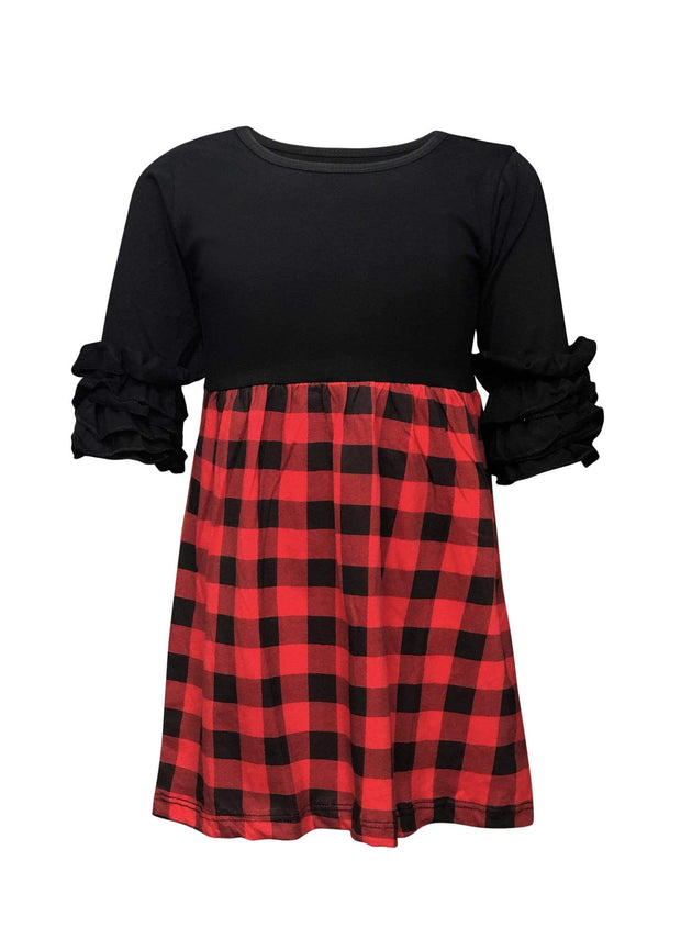 ILTEX Apparel Black Red Plaid Two Tone Dress Kids