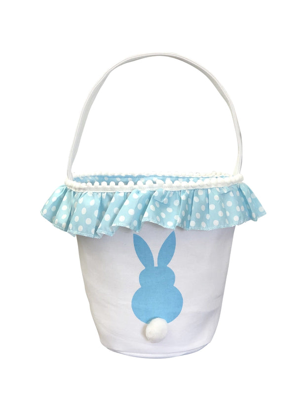 ILTEX Apparel Blue Easter Bunny Frill Cotton Tail Basket