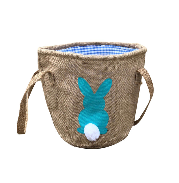 ILTEX Apparel Blue Easter Burlap Bunny Cotton Tail Basket