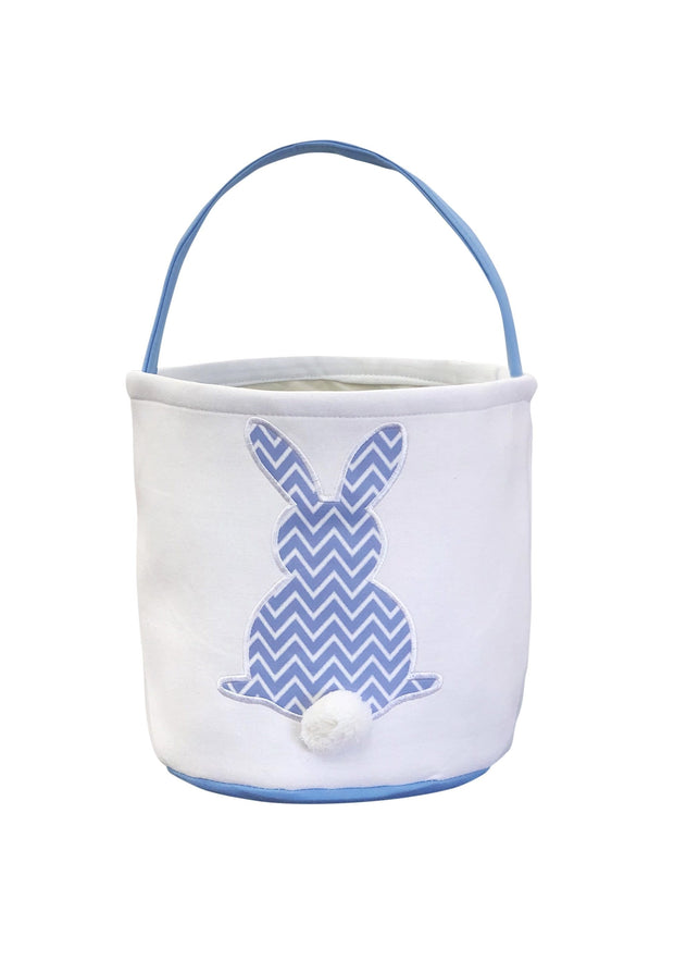ILTEX Apparel Blue Easter Light Chevron Bunny Cotton Tail Basket