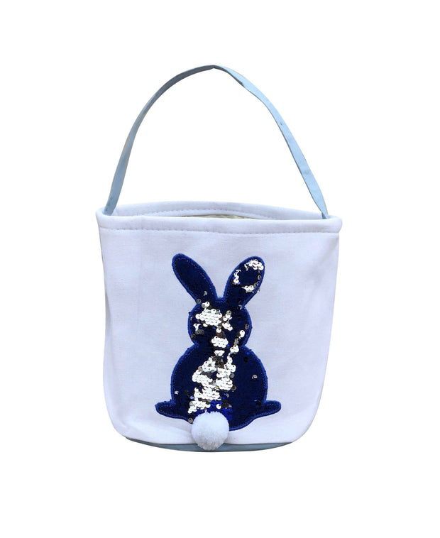 ILTEX Apparel Blue Easter Sequin Bunny Cotton Tail Basket