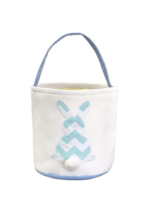ILTEX Apparel Blue Easter Thick Chevron Bunny Cotton Tail Basket