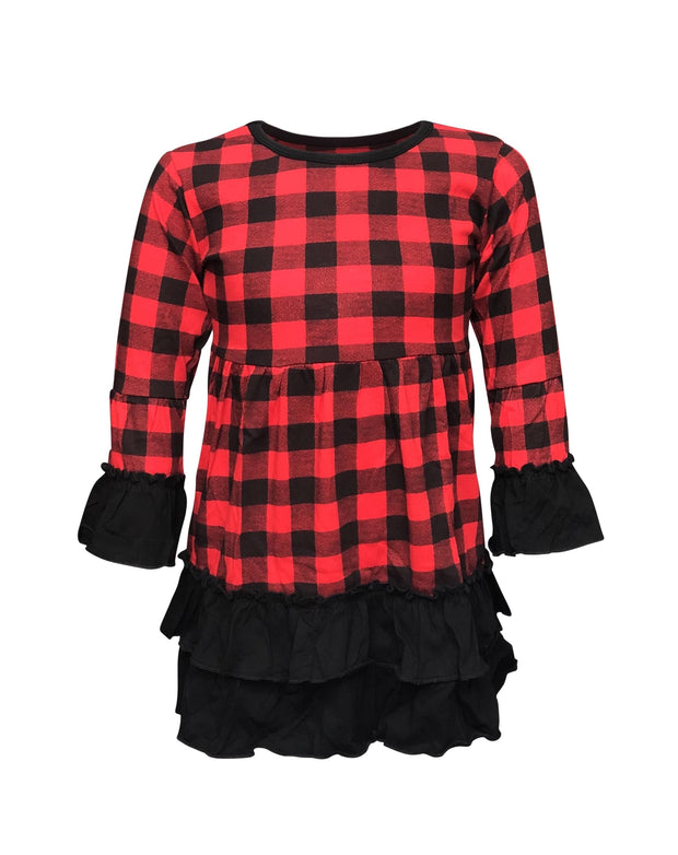 ILTEX Apparel Buffalo Plaid Dress Black Red Kids