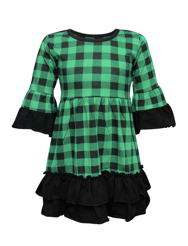 ILTEX Apparel Buffalo Plaid Green Dress Kids