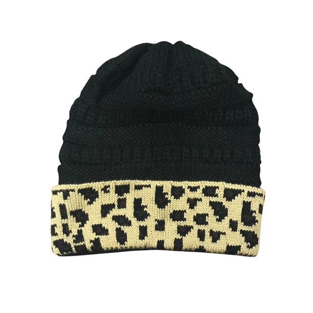 ILTEX Apparel Cheetah Black Beanie