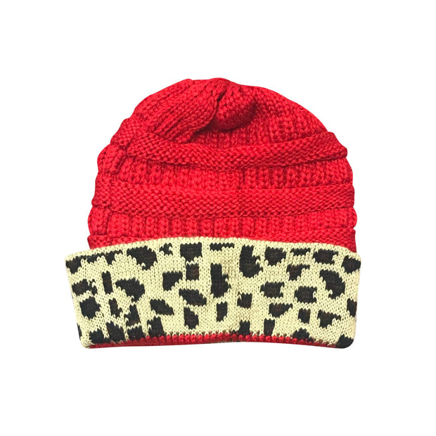 ILTEX Apparel Cheetah Red Beanie