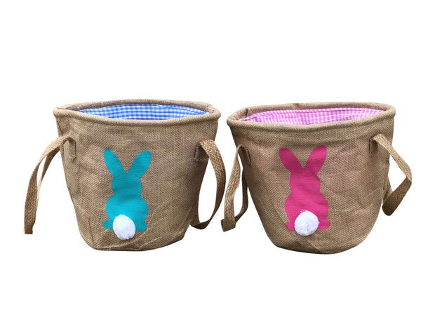 ILTEX Apparel Easter Burlap Bunny Cotton Tail Basket