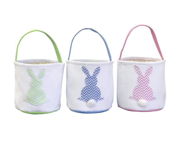 ILTEX Apparel Easter Light Chevron Bunny Cotton Tail Basket