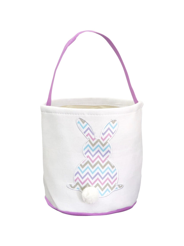 ILTEX Apparel Easter Multi Light Chevron Bunny Cotton Tail Basket