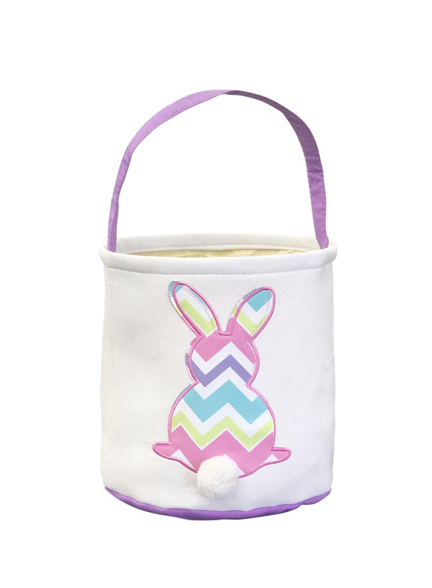 ILTEX Apparel Easter Multi Thick Chevron Bunny Cotton Tail Basket