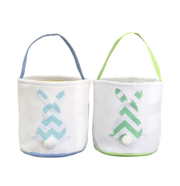 ILTEX Apparel Easter Thick Chevron Bunny Cotton Tail Basket