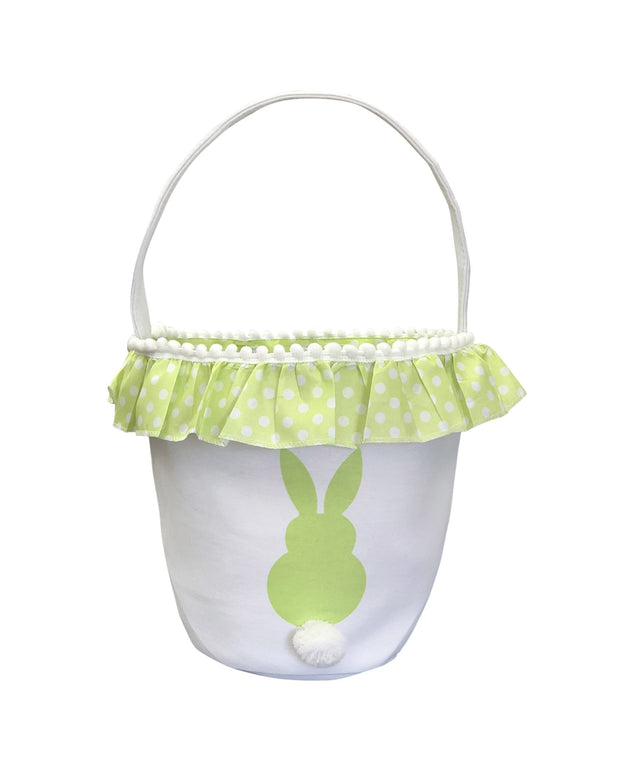 ILTEX Apparel Green Easter Bunny Frill Cotton Tail Basket