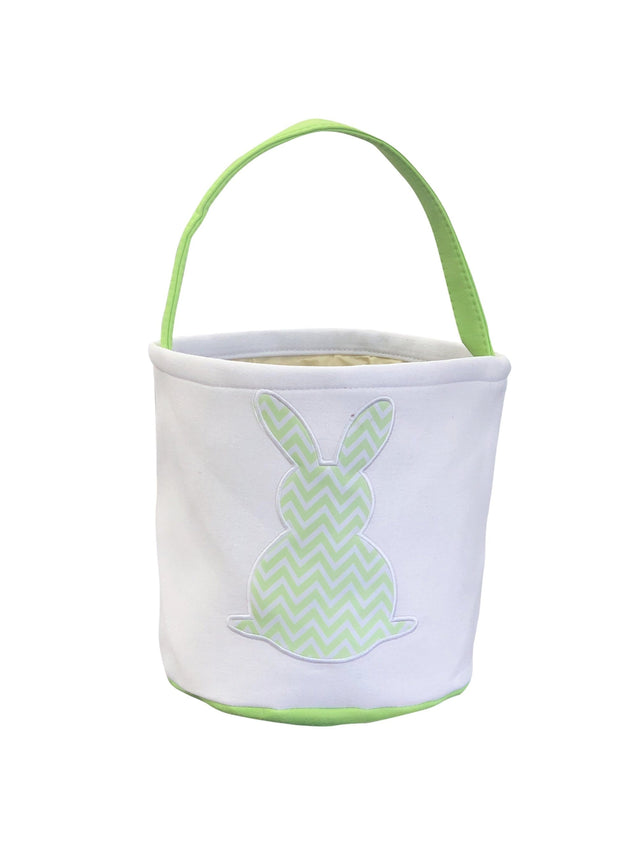 ILTEX Apparel Green Easter Light Chevron Bunny Cotton Tail Basket