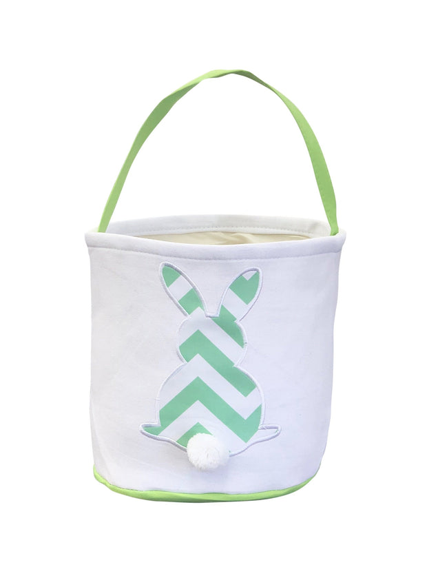 ILTEX Apparel Green Easter Thick Chevron Bunny Cotton Tail Basket