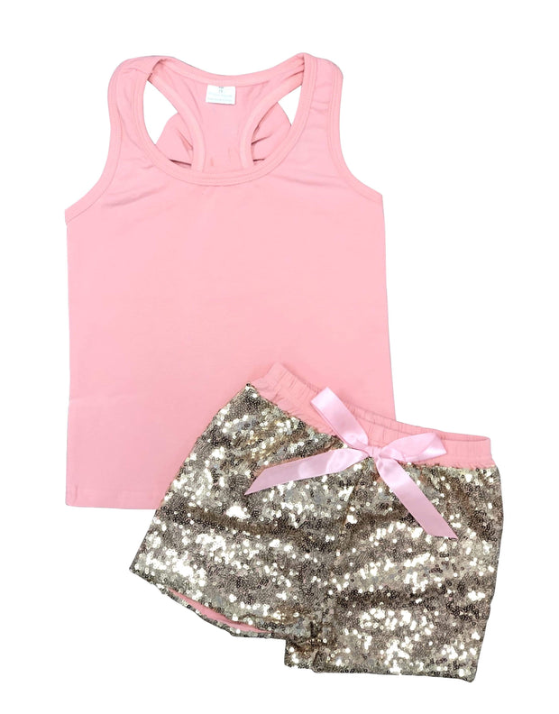 ILTEX Apparel Kids Clothing 12/18 Months / Peach Sequin Bow Tank Top Set Kids