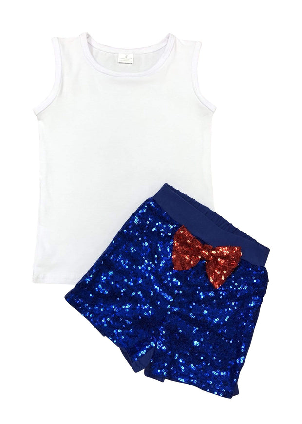 ILTEX Apparel Kids Clothing 12/18 Months Sequin Bow White Royal Set Kids