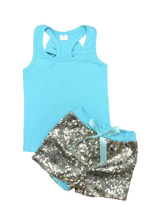 ILTEX Apparel Kids Clothing 12/18 Months / Turquoise Sequin Bow Tank Top Set Kids