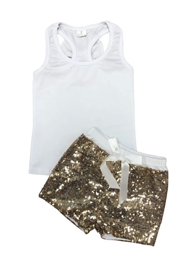 ILTEX Apparel Kids Clothing 12/18 Months / White Sequin Bow Tank Top Set Kids