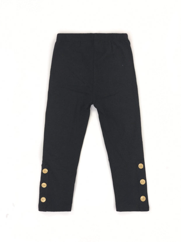 ILTEX Apparel Kids Clothing 2-3 years / Black/Gold Kids Long Pants with Ankle Buttons