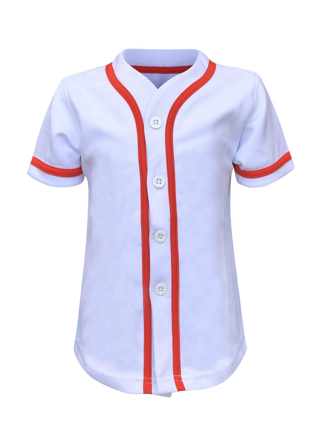 ILTEX Apparel Kids Clothing Baseball Button Down Jersey Kids White Orange