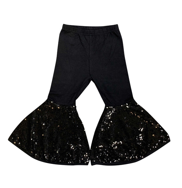 ILTEX Apparel Kids Clothing Bell Bottom Black Sequin Pants