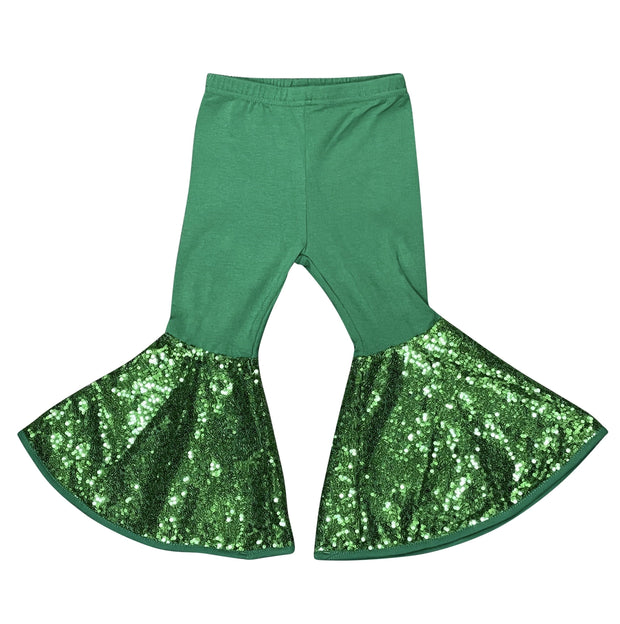 ILTEX Apparel Kids Clothing Bell Bottom Green Sequin Pants
