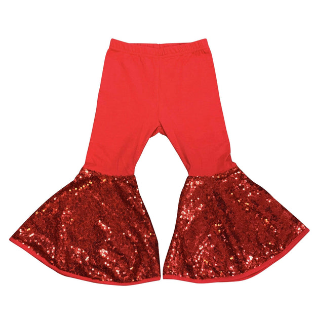 ILTEX Apparel Kids Clothing Bell Bottom Red Sequin Pants