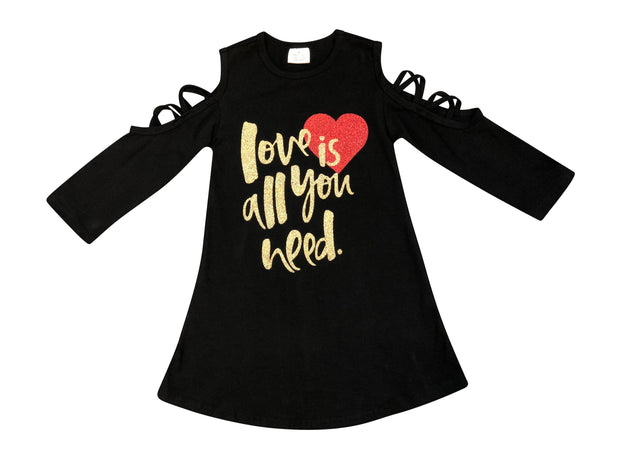 ILTEX Apparel Kids Clothing Black Cold Shoulder Dress 'Love is All You Need' - Kids