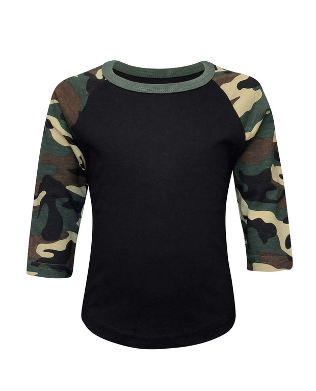 ILTEX Apparel Kids Clothing Camouflage Raglan Black/Camo Kids