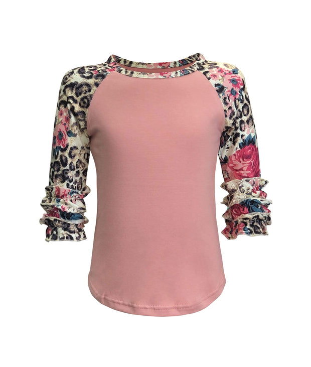 ILTEX Apparel Kids Clothing Cheetah Floral Coral Ruffle Top Kids