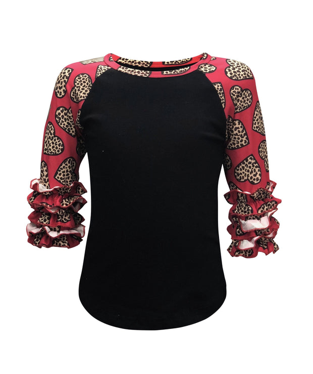 ILTEX Apparel Kids Clothing Cheetah Heart Black Pink Ruffle Top Kids