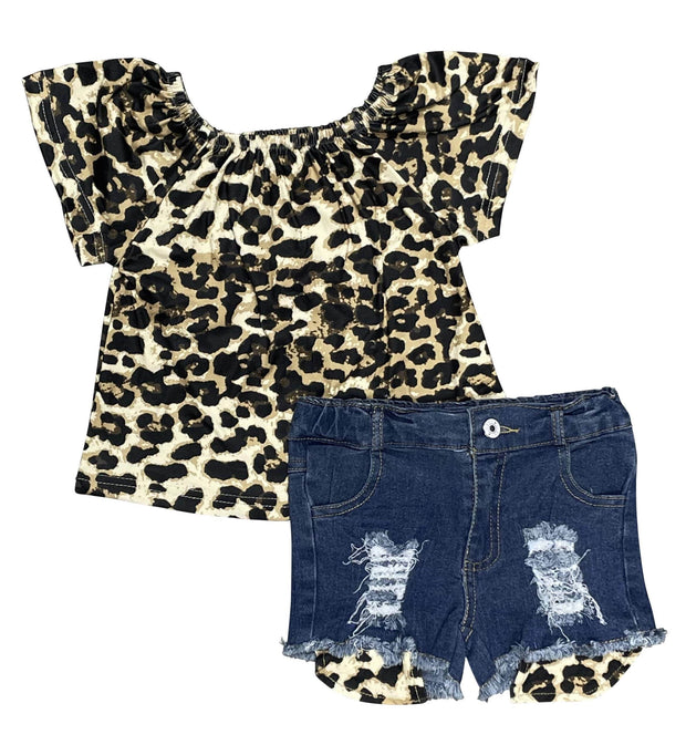 ILTEX Apparel Kids Clothing Cheetah Off The Shoulder Denim Shorts Outfit Kids