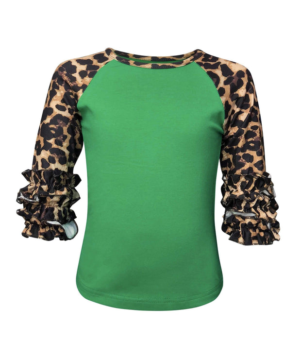 ILTEX Apparel Kids Clothing Cheetah Print Green Ruffle Raglan Kids