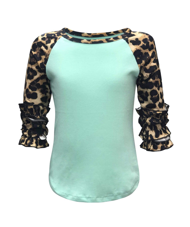 ILTEX Apparel Kids Clothing Cheetah Print Mint Ruffle Raglan Kids