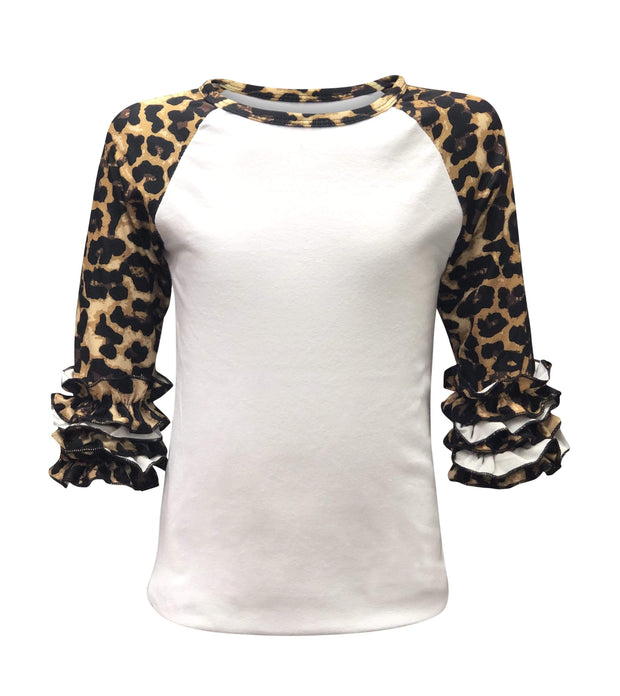 ILTEX Apparel Kids Clothing Cheetah Print White Ruffle Raglan Kids