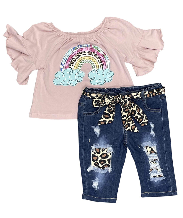 ILTEX Apparel Kids Clothing Cloud Rainbow Denim Cheetah Capri Outfit Kids