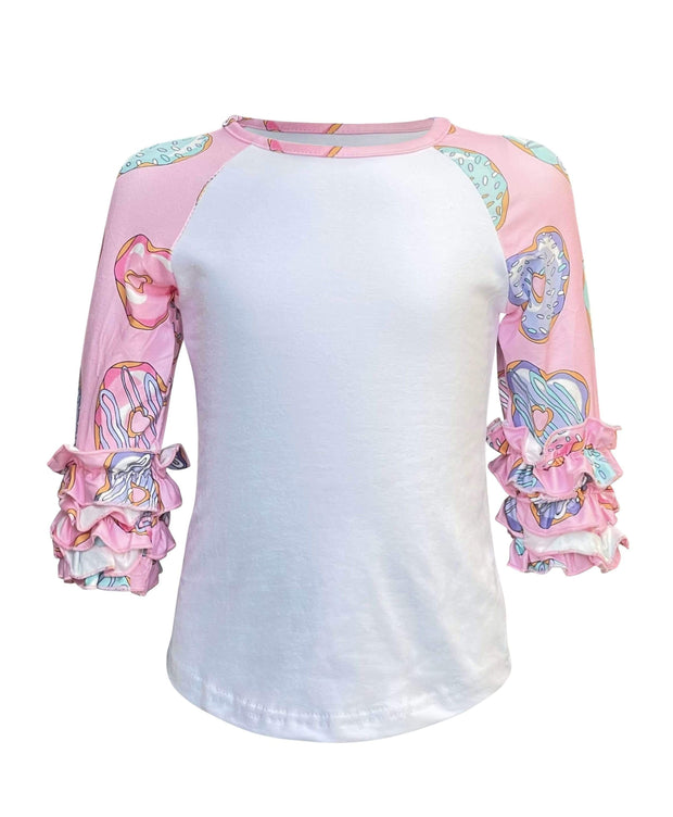 ILTEX Apparel Kids Clothing Donut Pink Ruffle Raglan Kids