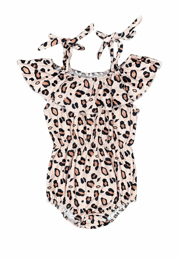 ILTEX Apparel Kids Clothing Dusty Pink Cheetah String Romper